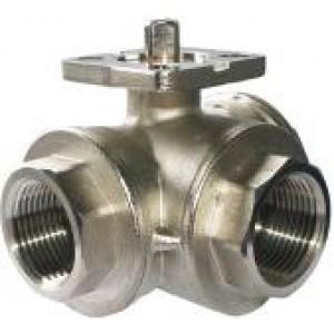 3-vägs kulventil 1 tum DN25 monteringsplatta ISO5211 industriell