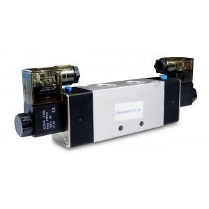 Solenoidvavle 4V420 5/2 bistabila 1/2 tum för pneumatiska cylindrar 230V eller 12V, 24V