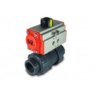 Kulventil UPVC 1 1/4 tum DN32 med pneumatisk ställdon AT40