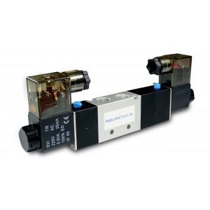 Magnetventil 4V230C 5/3 1/4 tum för pneumatiska cylindrar 230V eller 12V, 24V