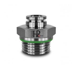 Plugnippel rak rostfritt stål slang 10mm tråd 1/2 tums PCS10-G04