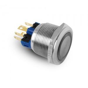 Knapp 22mm rostfritt stål IP65 LED 230V eller 24V blå momentant