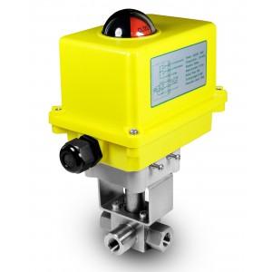 Högtryck 3-vägs kulventil 3/8 tum SS304 HB23 med elektrisk manöverdon A250