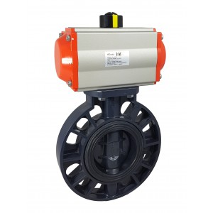 Fjärilsventil, gasreglage DN80 UPVC med pneumatisk ställdon AT75