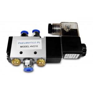 Magnetventil 5/2 4V210 1/4 tum för pneumatiska cylindrar + kontakter