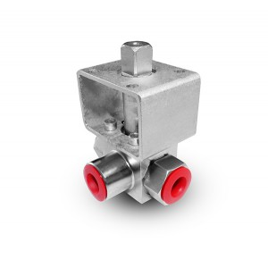 Högtryck 3-vägs kulventil 1/4 tum SS304 HB23 monteringsplatta ISO5211