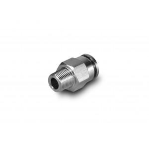 Pluggnippel rak rostfritt stålslang 12mm tråd 1/2 tum PCSW12-G04